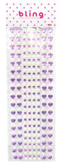 Purple Crystal Heart and Pearl Bling Bag- 272 pieces - Silly Farm Supplies