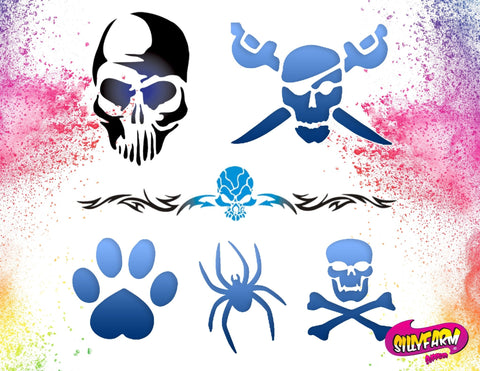 Silly Farm Airbrush Tattoo Stencil Set 1