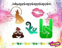 Silly Farm Airbrush Tattoo Stencil Set 6 - Silly Farm Supplies