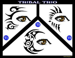 Tribal Trio Stencil Eyes Stencil - Silly Farm Supplies