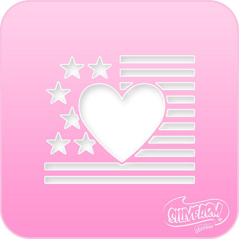 USA Heart Flag 2 Pink Power Stencil
