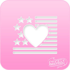 USA Heart Flag 2 Pink Power Stencil - Silly Farm Supplies