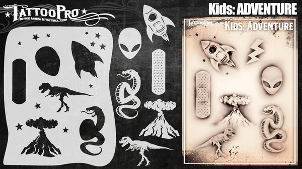 Wiser's Adventure Airbrush Tattoo Pro Stencil- Kids Series