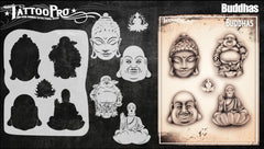 Wiser's Buddhas Airbrush Tattoo Pro Stencil Series 5 - Silly Farm Supplies
