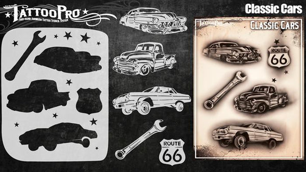 Wiser's Classic Cars Airbrush Tattoo Pro Stencil Series 4