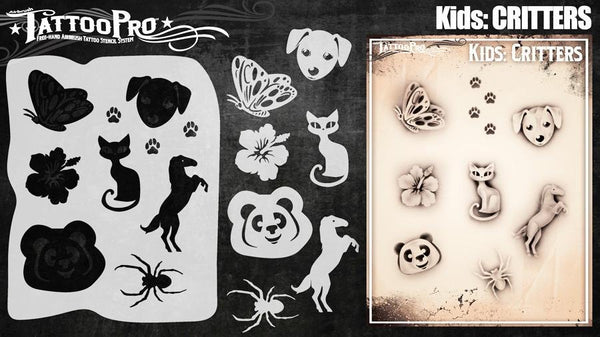Wiser's Critters Airbrush Tattoo Pro Stencil- Kids Series