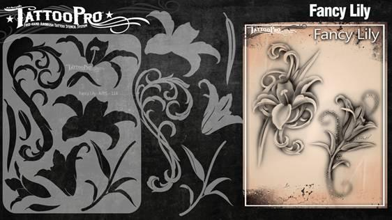 Wiser's Fancy Lily Airbrush Tattoo Pro Stencil Series 2