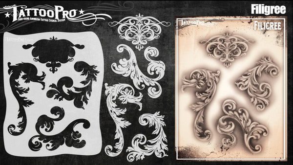 Wiser's Filigree and Flair Airbrush Tattoo Pro Stencil Series 5