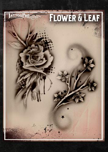 Wiser's Flower & Leaf Tattoo Pro Stencil Series 1