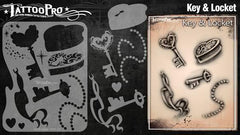 Wiser's Key & Locket Airbrush Tattoo Pro Stencil Series 2 - Silly Farm Supplies