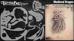 Wiser's Medieval Dragon Tattoo Pro Stencil Series 3 - Silly Farm Supplies