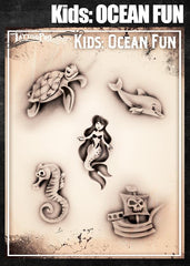 Wiser's Ocean Fun Airbrush Tattoo Pro Stencil- Kids Series - Silly Farm Supplies