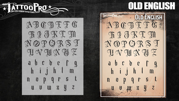 Wiser's Old English Airbrush Tattoo Pro Stencil Fonts