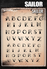 Wiser's Sailor Airbrush Tattoo Pro Stencil Fonts - Silly Farm Supplies