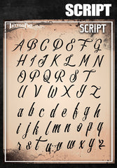 Wiser's Script Airbrush Tattoo Pro Stencil Fonts - Silly Farm Supplies