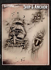 Wiser's Ship & Anchor Tattoo Pro Stencil Series 1 - Silly Farm Supplies