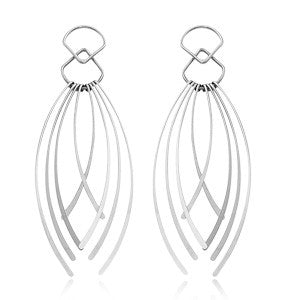 Sterling Silver Curved 8 Fringe Earring