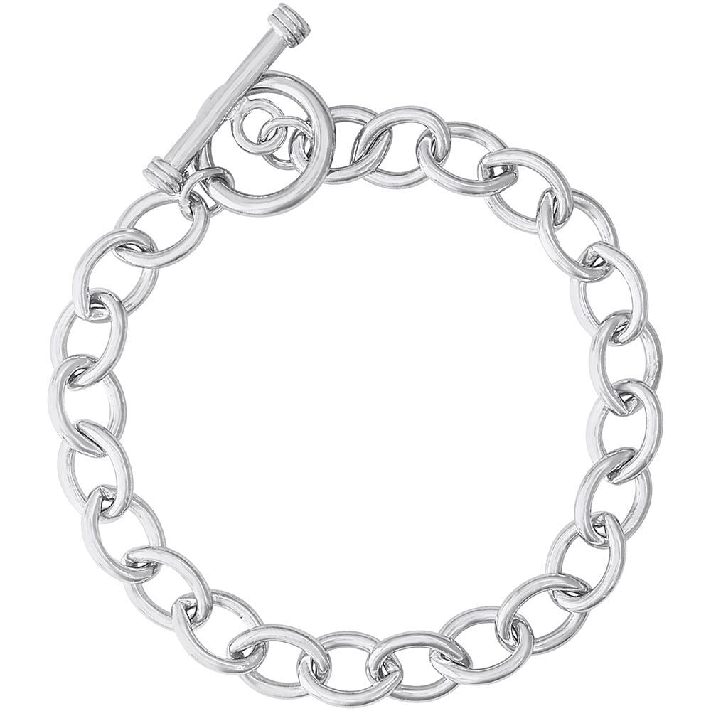 Open Cable Link Classic Charm Bracelet with Toggle