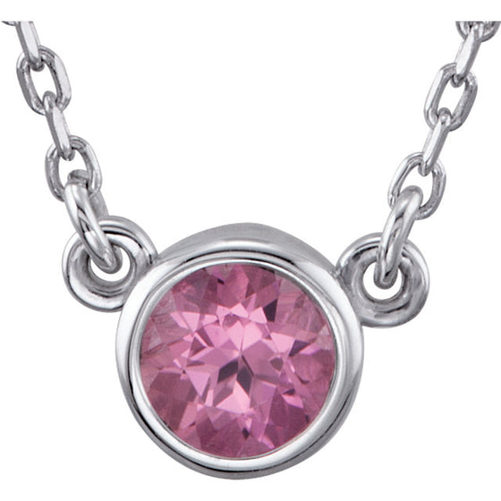 "Sterling Silver Pink Tourmaline Bezel 18"" Necklace"