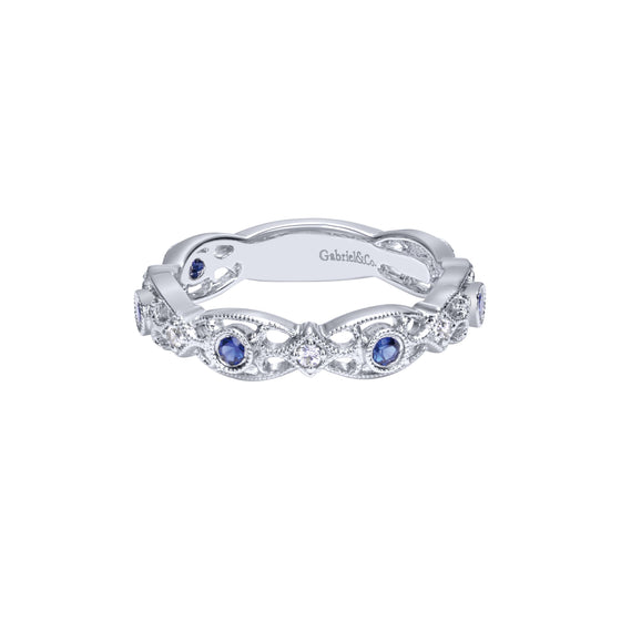 14K White Gold Stackable Diamond A Quality Sapphire Ladies' Ring