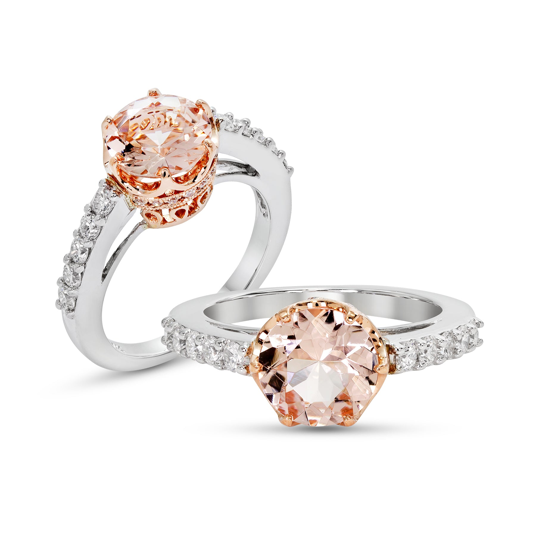 cut gemstone ring cushion rings rose gold morganite diamond engagement