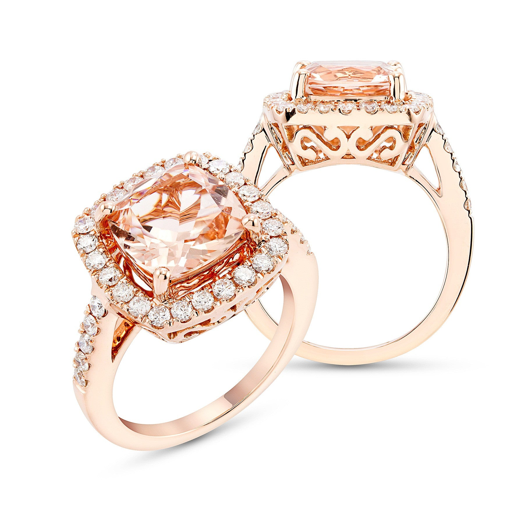Rose Gold Cushion Cut Morganite And Daimond Ring