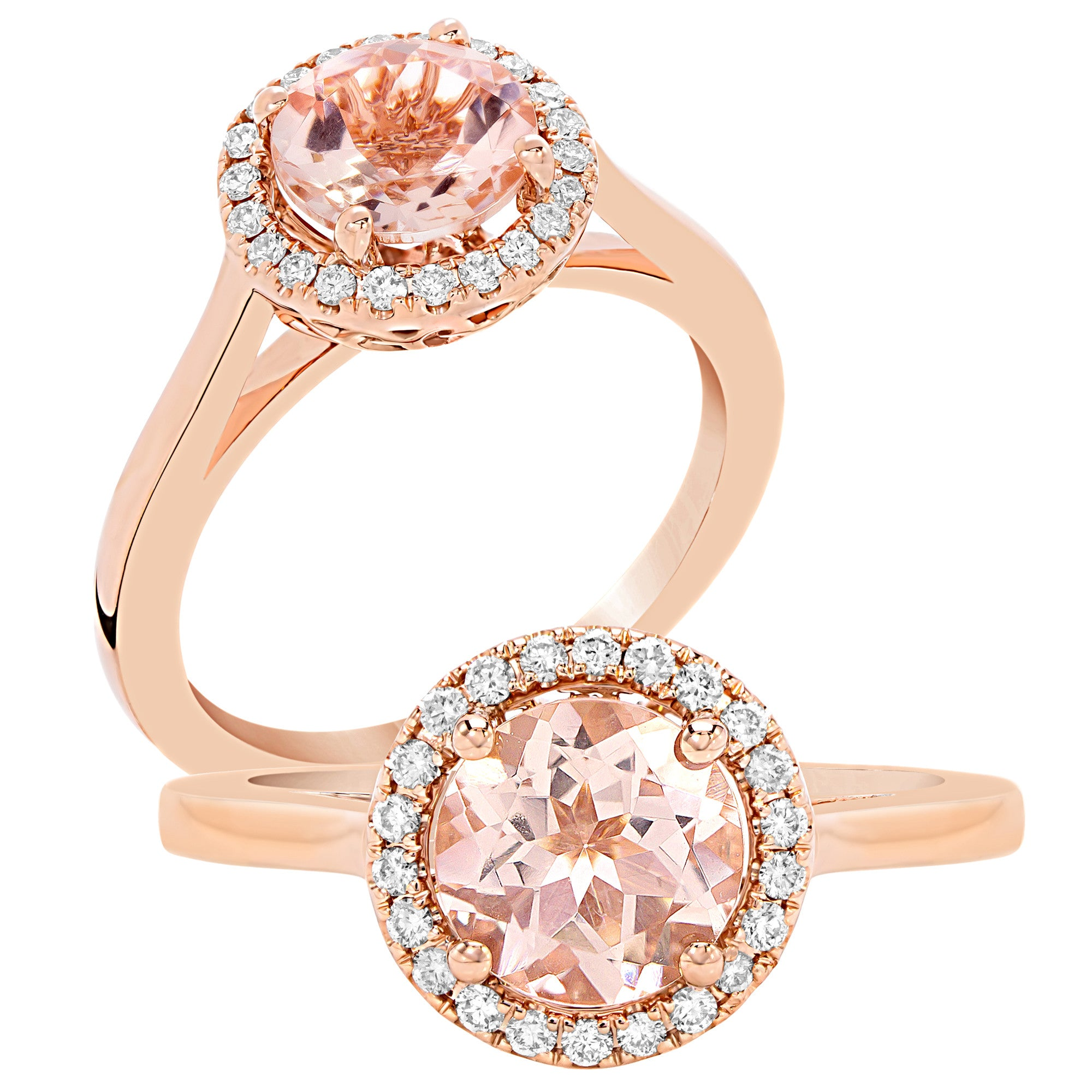 and morganite ring gold rose flower diamond