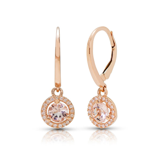 Rose Gold, Round Morganite and Diamond Dangle Earrings