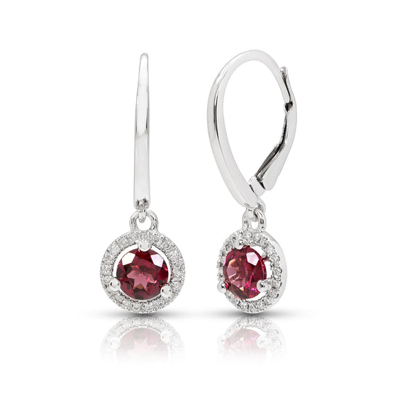Rhodolite Garnet and Diamond Dangle Earrings