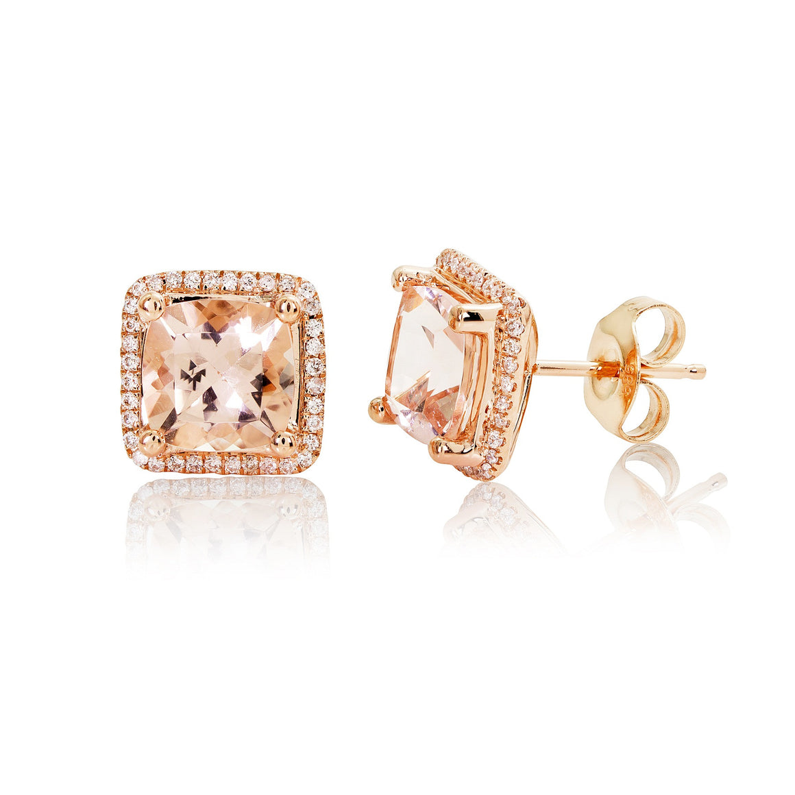 Rose Gold, Diamond and Morganite Earrings