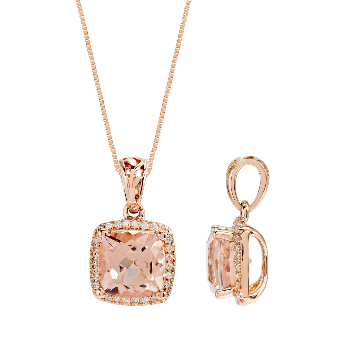 14kt Rose Gold Diamond and Morganite Pendant