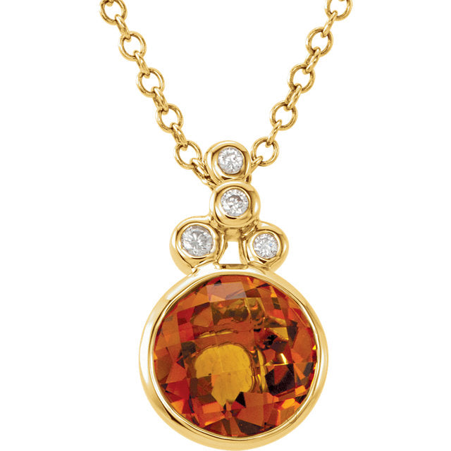 14K Yellow Checkerboard Citrine & Diamond Necklace