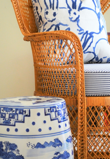 Featured in Classic Bride Blog - Custom Blue and White Stripped Seat Cushion