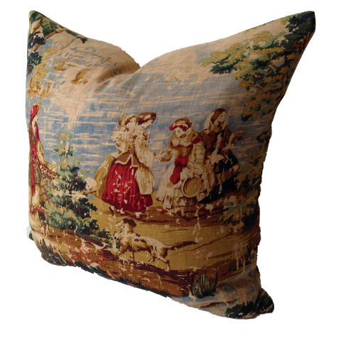 Decorative Pillow Cover in Bosporus Ocean 128 Distressed Toile Fabric