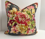 Decorative Pillow Cover in Floral Venus Basketweave Charcoal Fabric with Self Welt