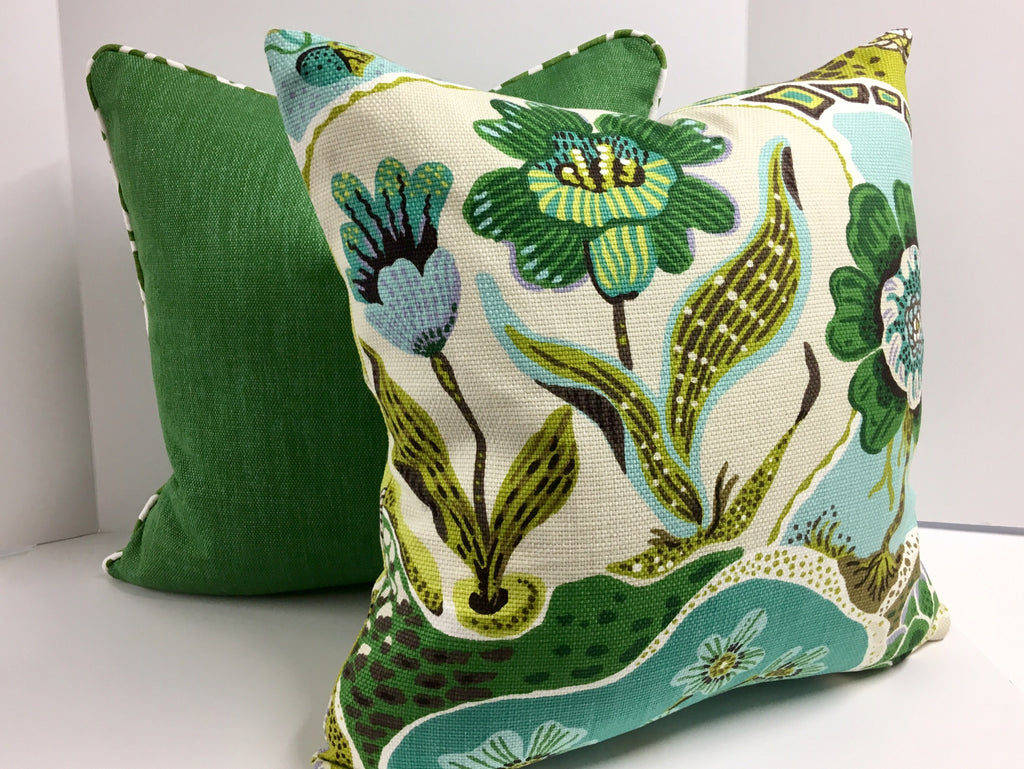 Decorative Pillow Cover in Green Floral Basketweave Fabric in Welt Piping