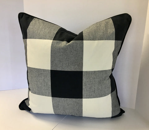 Buffalo Plaid Pillow Decorative Covers in Black and Cream Fabric with Black Piping