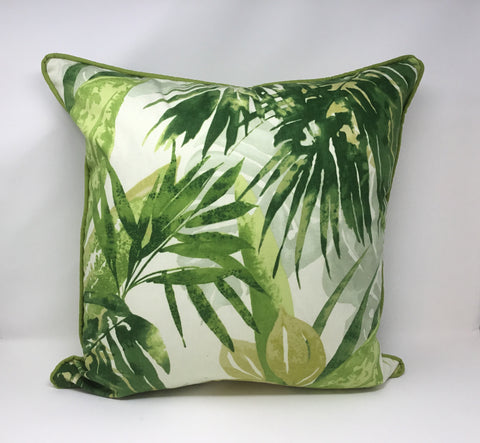 Tropical Palm Jungle Green Decorative Pillow Cover/Includes Welt Options