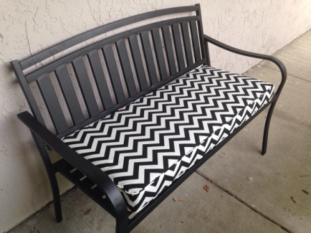 Indoor, Outdoor Custom Designer Chevron Print Bench Seat Cushion, Black and White, By Pillow Loft