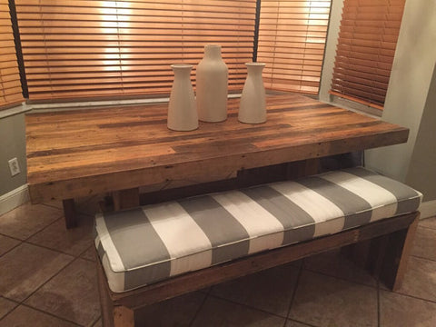 Custom Bench Seat Cushion handmade item, Grey and White Indoor Fabric
