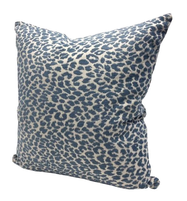Delft Blue Chenille Animal Print Pillow Cover