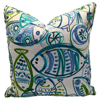 Colorful Whimsical Fish with Shades of Blue and Green with White Background, Indoor or Outdoor Pillow Cover