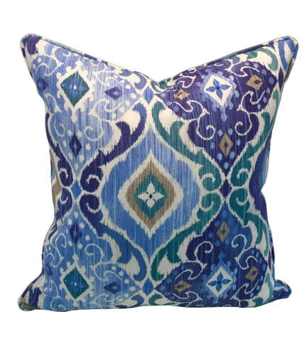 Blue Fresca Ikat Indoor & Outdoor Pillow Cover, Self Piping with Coordinating Zipper Enclosure, Colors include shades of blue, green, white, tan, & grey