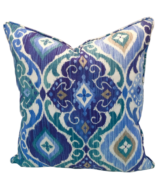 Ikat Printed Indoor or Outdoor pillow cover, Colors in shades of blue, green, gray, tan & white, Enclosed coordinating zipper with self piping