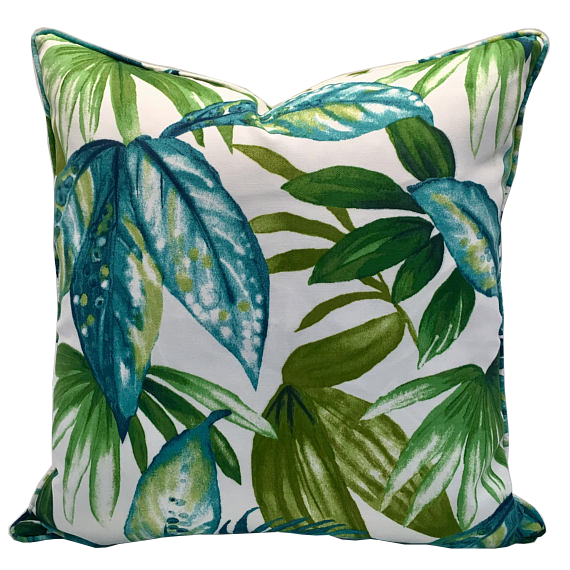 Solarium Palm leaf design with different shades of blue and green foliage, Indoor/Outdoor Pillow Cover, handmade by Pillow Loft, Self Piping with Coordinating Enclosed Zipper