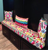 Custom made bench cushion and pillow covers made with Santa Maria Desert Flower Print