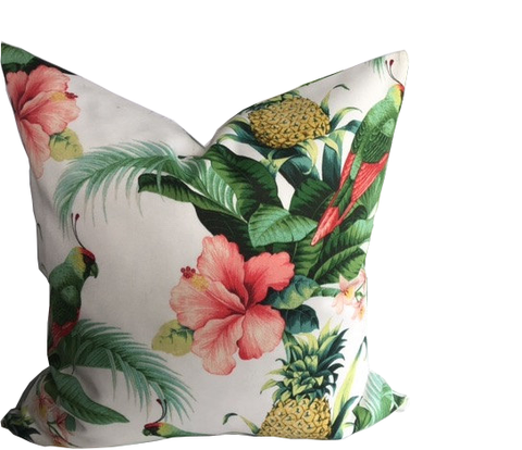 Tropical Scene with Large Pink Hibiscus Flowers, Bird of Paradise, Pineapple Fruit with lush Tropical leaves. Indoor or Outdoor Pillow Cover with Coordinating Enclosed Zipper handmade by Pillow Loft