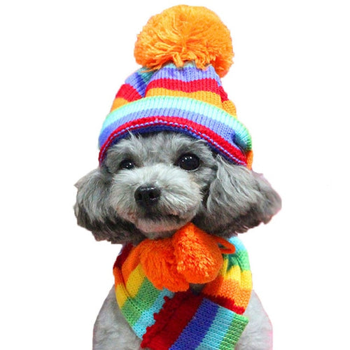 3 pcs/set Winter Warm Dog Hat Knitted Scarf Socks