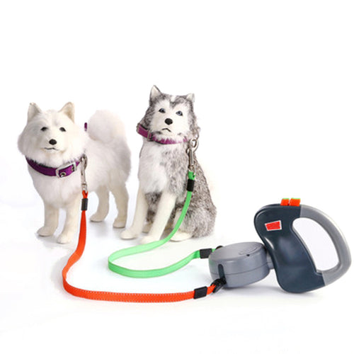 Dual Doggie Retractable Leash, Green/Orange
