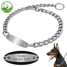 Large Dog Collar Chain Choke Personalized Pet Collars Silver